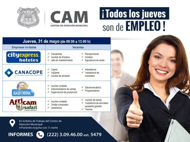 City Express, Canacope y Africam Safari tienen vacantes disponibles
