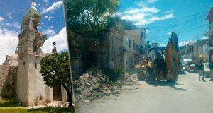 En Tepexi, reportan daños en 4 escuelas; 2 iglesias podrían derrumbarse