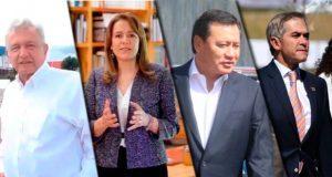 AMLO, Zavala, Osorio y Mancera los más conocidos rumbo a 2018