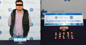 Ssptm de Puebla detiene a hombre quien portaba 20 metanfetaminas