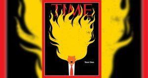 """Aparece """"Trump en llamas"""" en portada de revista Times"""