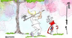 Caricatura: Trump busca hoyo en uno en México