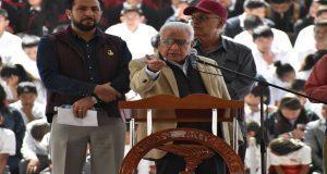 Aquiles Córdova Morán y antorchistas demanda justicia para exedil de Huitzilan. Foto: Especial