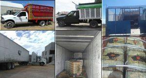 Las unidades en conjunto trasladaban 20 contenedores, abastecidos con 15 mil 350 litros de gasolina robada. Foto: Especial