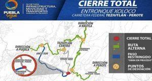 Cierran la federal Teziutlán-Perote por construcción del Arco Sur. Foto: especial.