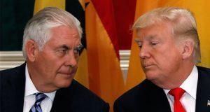 """Trump dijo a reporteros que tomó la decisión del despido """"por su cuenta"""" y que Tillerson será """"mucho más feliz ahora"""". Foto:Especial"""