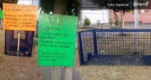 En la colonia Concepción La Cruz, vecinos manifestaron su enojo contra el ayuntamiento de San Andrés Cholula, ya que colocó trampas para perros callejeros. Foto: Especial