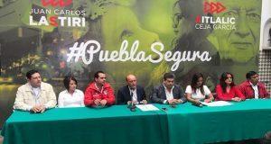 Lastiri y Ceja plantean mejores salarios para policías en Puebla. Foto: Twiiter/@JuanCLastiri