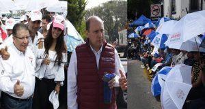 El candidato a la gubernatura por el PRI, Enrique Doger hice acto de presencia en el Desfile 5 de Mayo para dar una entrevista a medios de comunión y retirarse de inmediato.