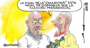 Caricatura: Elección presidencial dispareja como final de Champions
