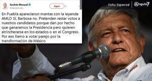AMLO responde a campaña de Lagunes contra Barbosa pidiendo voto parejo