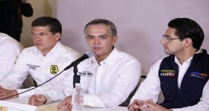 En su visita a Puebla, Miguel Angel Mancera comentó que acompañará Martha Erika en parte de su gira por municipios del Estado.