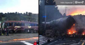 Pipa se quema tras chocar contra ADO en la autopista a Ciudad Mendoza