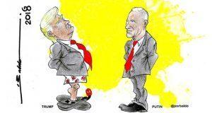 Caricatura: La reunión entre Trump y Putin, descripción gráfica