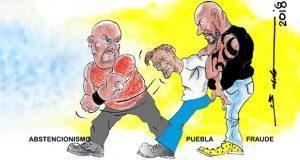 Caricatura: Puebla víctima de fraude y abstencionismo