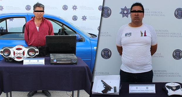 Caen uno por robo a casa y a otro por portar arma en Puebla capital