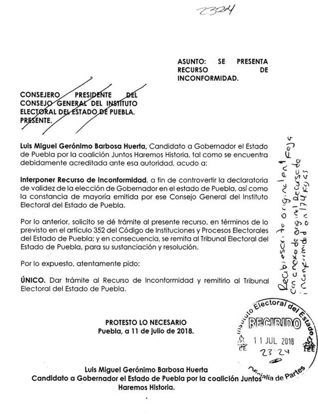 Barbosa presenta ante IEE recurso para invalidar triunfo de Martha Erika