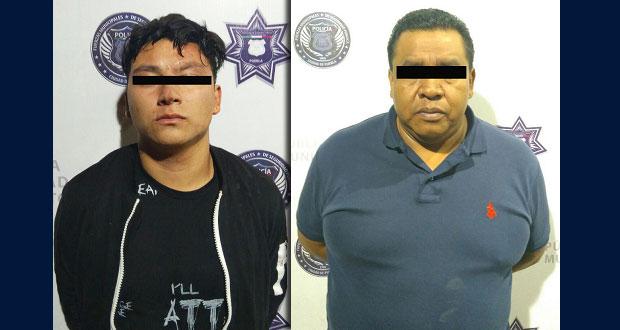 Ssptm de Puebla frustra robo a pasajero de taxi y detiene a dos