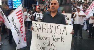 """En Nueva York, paisanos se manifiestan contra """"fraude electoral"""" en Puebla"""