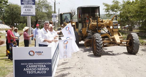 Pavimentarán carretera en Amado Nervo-Teotlalco