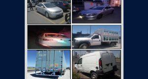 SSP recupera 19 vehículos y una caja seca en 9 municipios poblanos
