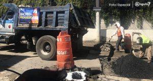 Bachetón 4.0 continúa reparando calles en colonias de Puebla capital