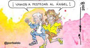Caricatura: Doble festejo en el ángel de la Independencia