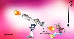 Caricatura: Volkswagen a cañonazos ahuyenta a Tláloc y campesinos