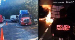 Tráiler impacta a otro en la México-Puebla y se incendian; hay 4 heridos