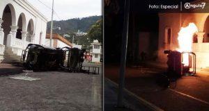 Queman patrulla frente ayuntamiento de Cuyoaco; llevan 20 días sin agua