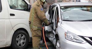 Choque entre ruta 12-A y automóvil deja un saldo de 6 lesionados