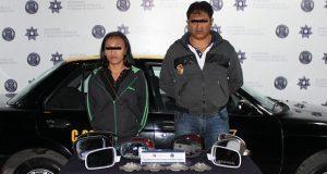 Ssptm asegura a pareja por el delito de robo de autopartes