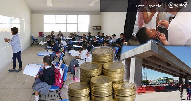 Puebla recibe 17,444 mdp en ramos de educación, salud e infraestructura; 5% más