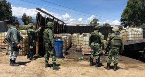 SSP y Sedena aseguran 50 mil litros de gasolina en San Martín