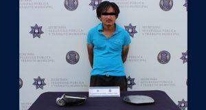 Ssptm detiene a hombre en Huexotitla señalado de robo de autopartes
