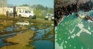 Vecinos roban gasolina tras fuga en toma clandestina en Texmelucan