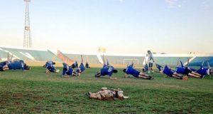 """Tesapara, la perrita que es """"ayudante"""" en equipo de futbol paraguayo"""