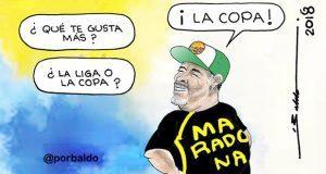 Caricatura: Maradona quiere la Copa, no la Liga