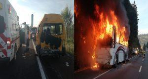 Choque entre vagoneta y autobús deja 8 heridos en la México-Puebla