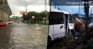 Caída de árboles e inundación de avenidas deja tromba en Puebla capital