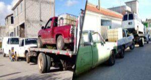 Decomisan 17 unidades usadas para el trasiego de huachicol en Puebla