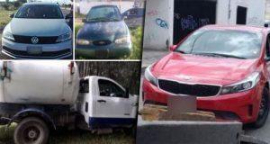 SSP asegura a hombre y 9 vehículos robados en seis municipios