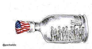Caricatura: El rechazo de Estados Unidos a migrantes