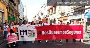 """""""Nos queremos seguras"""", claman poblanas en marcha contra la violencia"""