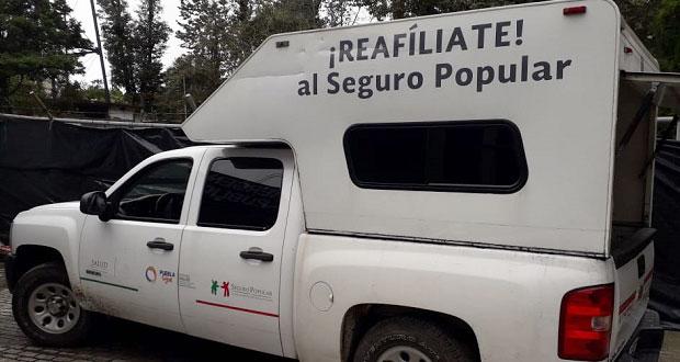 Aseguran unidad del Seguro Popular con gasolina robado en Xicotepec
