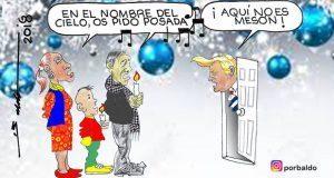 Caricatura: Donald Trump no da posada a migrantes