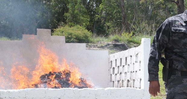 Delegación de PGR en Puebla incinera más de 16 kilos de drogas