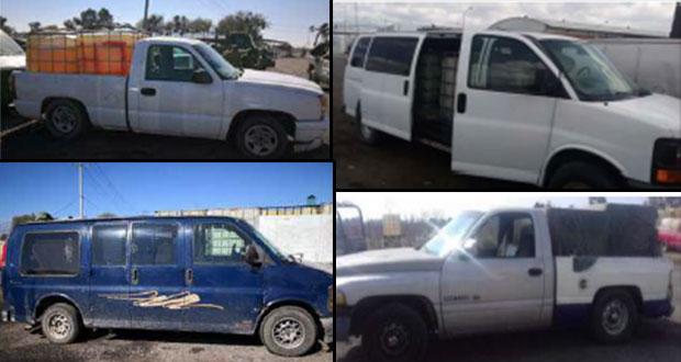 Aseguran 9 vehículos con 9 mil 100 litros de combustible robado