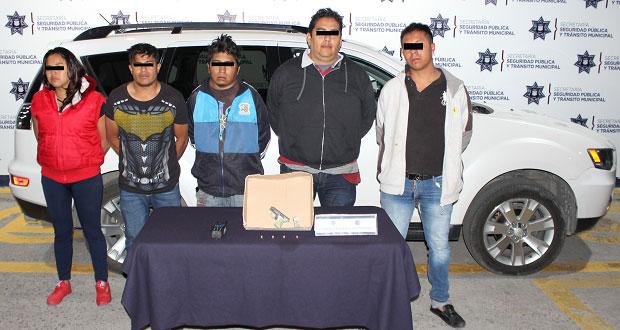 Ssptm detiene a cinco en la Rivera por posesión ilegal de arma