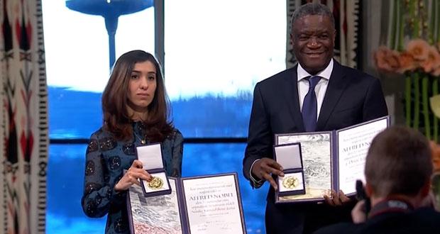 Entregan Nobel de la Paz por combatir violencia sexual en guerra